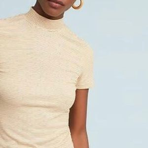 Anthropologie Pure Good Gold Striped Mock Neck Tee